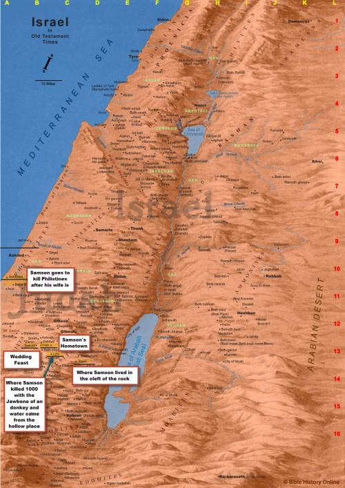 Map of Samsons Travels through Lehi
